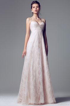 blumarine 2014 pink lace wedding dress straps empire waist