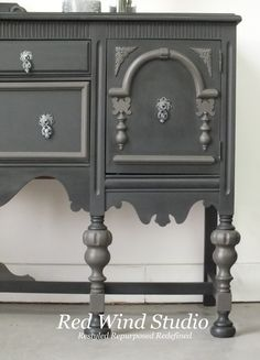 Orante Sideboard Raven and Cast Iron Right Side - Painted in FAT Paint ™ colors Raven and Cast Iron.