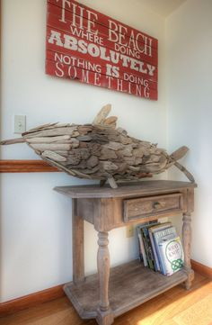 The name I submitted for the 'fish' was chosen by the beach home owner!  His name is Finley!  Owner made the neat sign above!  Cool!