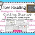 Close Reading For Kindergarten & First Grade Included in this resource:  •Everything you need to start doing Close Reading of Text   activities...