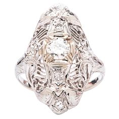 .32 Carat Diamond Gold Filigree Engagement Ring | From a unique collection of vintage engagement rings at http://www.1stdibs.com/jewelry/rings/engagement-rings/