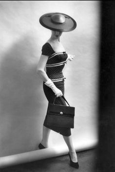 1956 Fashion model and TV personality Nancy Berg posing for Bromley, photo by Inge Morath