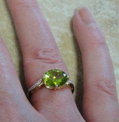 Peridot Ring with Diamonds 14K Solid Gold - 3 Carat Genuine Peridot Gem - Vintage