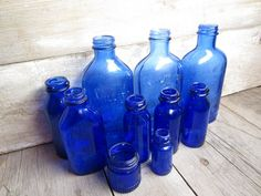 Blue bottles for DIY centerpieces and more vintage and antique ideas!