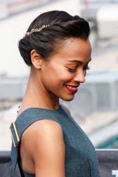 Zoe Saldana's twist hairstyle with headband placed backwards - gorgeous and clever!