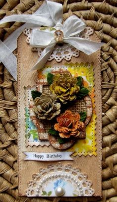 A richly beautiful autumn hued tag created by Lisa Pace. #tag #handmade #crafts #paper #scrapbooking #autumn #bow #ribbon #fall #flowers