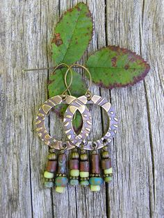 picasso czech and indo pacific glass, antiqued brass boho earrings. bohemian dangle earrings. hoop earrings.