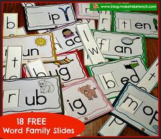 Classroom Freebies: Word Family Slides