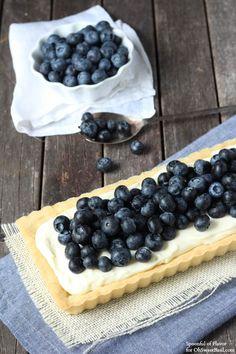 Mascarpone Blueberry Tart - lemon cookie crust topped with mascarpone and plenty of fresh blueberries!