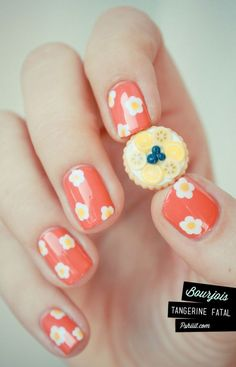 spring flower, spring nails, flower nails, nail designs, flower designs, daisi, nail arts, flower power, little flowers