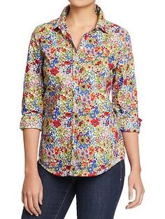 Women's Lightweight Patterned Shirts   ditsy floral