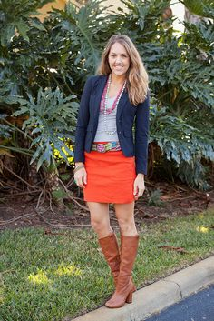 Colors! orang, everyday fashion, color, fashion styles, outfit, blazers, pencil skirts, js everyday, belts