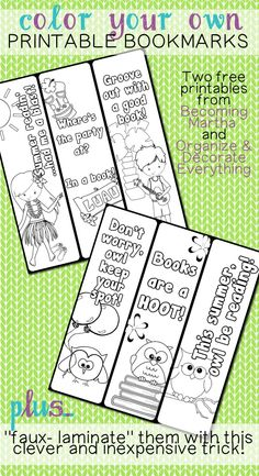 Printable and Colorable Bookmarks - Printable Contributor - Organize and Decorate Everything
