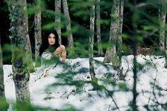 Snow White, Cypress, Mountain, Snow, Model, Wedding, Dress