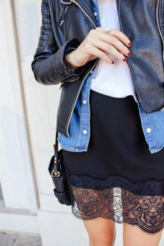 . . . denim, leather, lace . . .