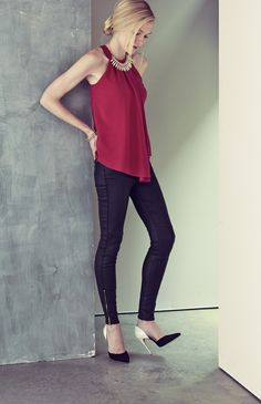 For an after-hours look, pair coated denim with a dressy top. Then add a cuff bracelet and single sole pumps.