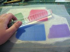 Using plastic canvas for mosaics. What a great idea! Kael Mijoy: Cured-On-Raw Mosaic Tutorial