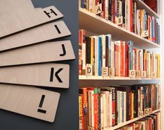 Loving these A-Z Wooden Record Dividers. For people who like to keep their bookshelves in order… #librarylove