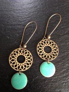 Boucles doreilles dormeuses ROSA turquoises  : Boucles doreille par bleu-boheme sur ALittleMarket
