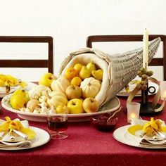 DIY Cornucopia. Details + more Thanksgiving decorating ideas: http://www.midwestliving.com/holidays/thanksgiving/easy-ideas-for-thanksgiving-decorating/?page=5,0