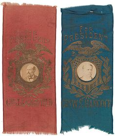 Campaign Ribbons for James A. Garfield and Winfield Scott Hancock, 1880