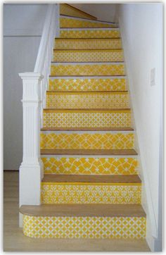 decor, interior design, color design, basement stairs, beauti interior, stairways ideas, basements, painted stairs, color yellow