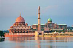 Putra Mosque and Perdana Putra, the Capitol building, in Putrajaya Malaysia
