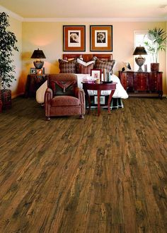 Great for traditional and modern spaces, Hampton Bay Cotton Valley Oak has a rich brown hue with dark brown and black hints.
