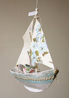 paper mache sailboat