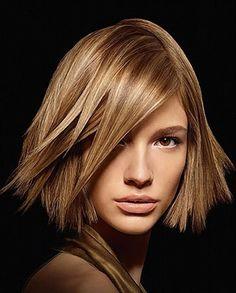 haircolor, middle blonde, blonde highlights, straight, sleek, short, sandy, shining