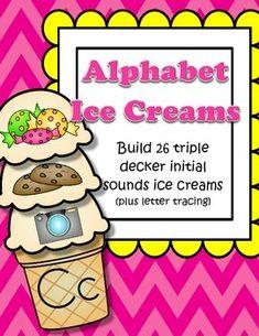 letter sound recognition, ice cream preschool, initi sound