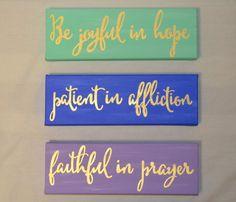 Romans 12:12 hand painted canvas set