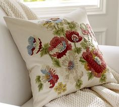 Vintage Floral Embroidered Pillow Cover #potterybarn