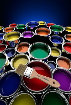 Paint Buckets with Brush