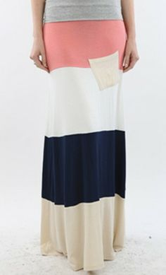 Womens color block maxi skirt with banded elastic waist and contrast colored pocket. - Apostolic Clothing Co.