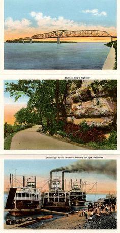Gorgeous souvenir postcards of Cape Girardeau.