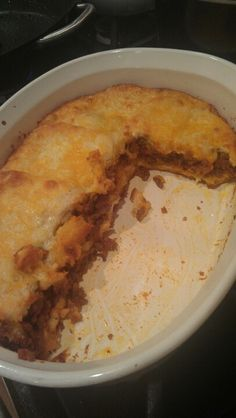 Sloppy Joe biscuit pie.  I used a can of Flaky grands Pillsbury biscuits 1lb ground meat and a can of sloppy Joe. Made sloppy joe's like always. Layered the bottom of the dish with biscuits. I split them in halves. Layered sloppy Joe on top. Add cheese if you want then the other half of the biscuits split in half on top a layer of cheese. Bake on 350 till biscuits are done. Yummy!!