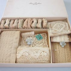"Huge Lot of Antique Lace Small Appliques Trim 1 4"" 2"" Bits Old Store Box 