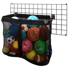 "Oh I love this storage idea !!! Big Mesh Sports Basket. Can be used on a 2' x 4"" wall grid. Or, mounted directly on to a garage wall."