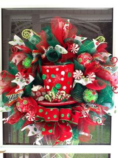 XXL Christmas Top Hat Wreath  deco mesh Christmas by WreathsEtc