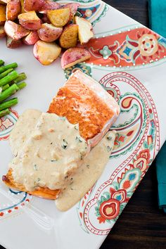 Pan-Crisped Salmon with Light Garlic Dijon Cream Sauce