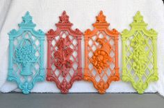 Bright Upcycled Wall Plaques set of 4 Vintage Syroco by BeautiSHE, $36.00
