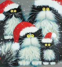 winter snow, crazy cats, kitten, christmas art, art cards, black cats, kim haskin, purrfect christma, xmas cards