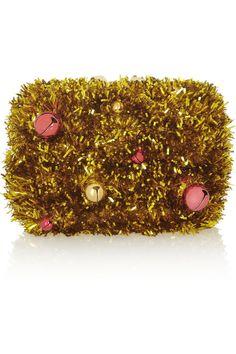 Kotur|Margo bell-embellished tinsel clutch|NET-A-PORTER.COM