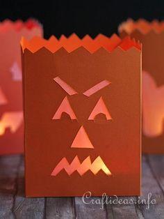 Fall Paper Craft - Evil Pumpkin Paper Lantern
