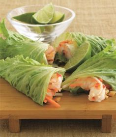 Low-Carb Shrimp Summer Rolls Recipe from The New Atkins for You Cookbook - Shape Magazine lettuce, food, summer rolls, wrap recip, healthi, lettuc wrap, yummi, shrimp summer, shrimp recipes
