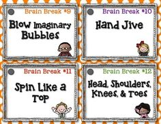 THE DAILY FIVE {BRAIN BREAKS} - FREE from First Grade Blue Skies