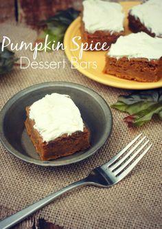 Pumpkin Spice Dessert Bars Recipe- perfect for Thanksgiving!