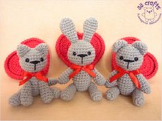 Amigurumi  Cat, Bunny and Bear - Free Russian Pattern    http://88crafts.blogspot.ru/2014/02/Valentines-animals.html