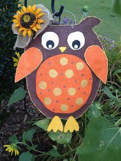 Owl Burlap Door Hanger. $30.00, via Etsy.